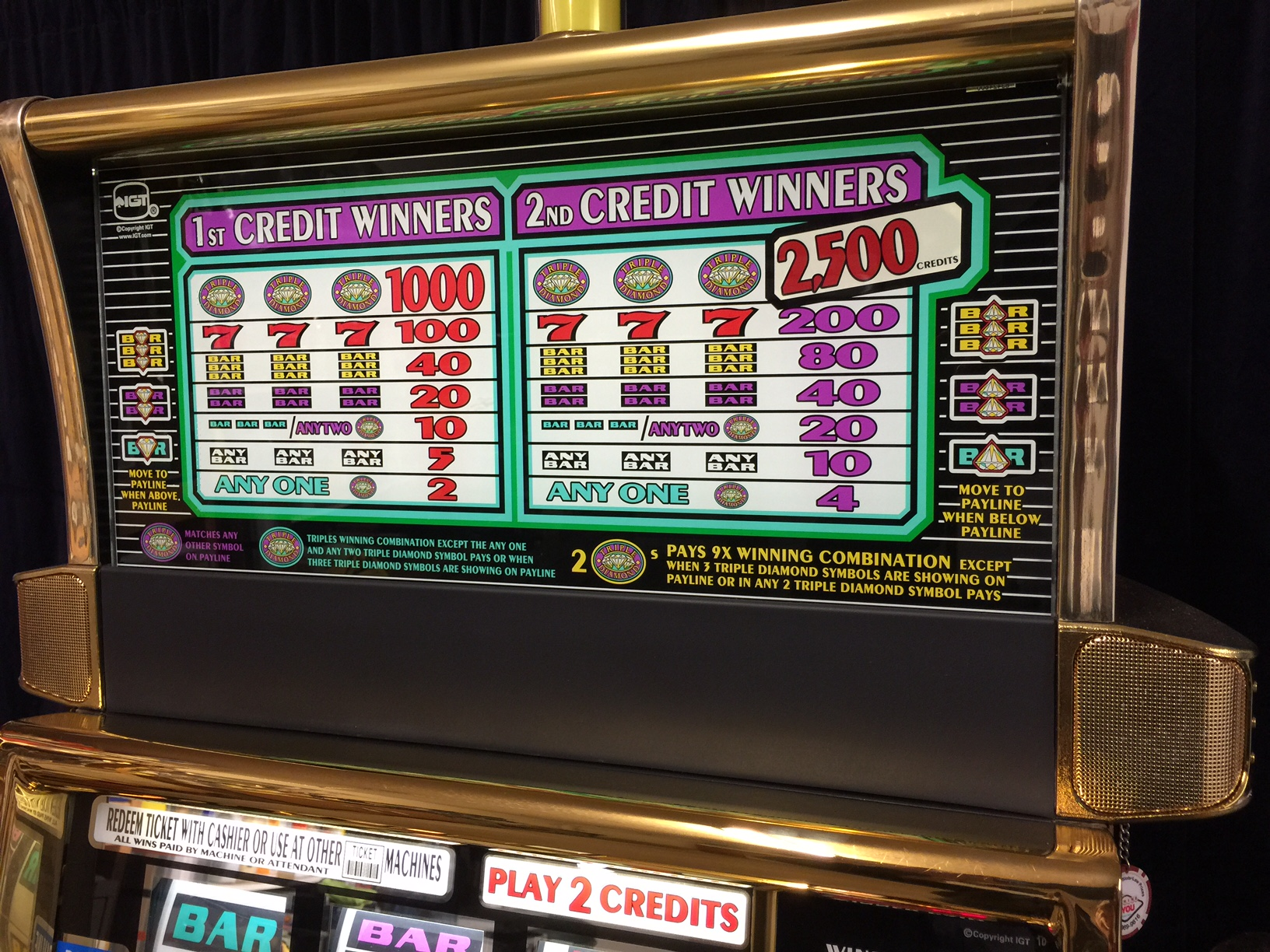 Triple diamond slot machine jackpot
